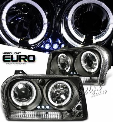 OptionRacing - Chrysler 300 Option Racing Projector Headlights - Black with Halo - 11-16278