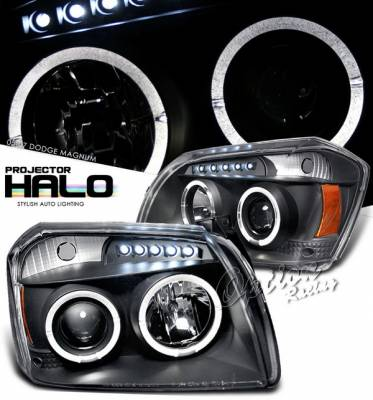 OptionRacing - Dodge Magnum Option Racing Projector Headlights - Black with Halo - 11-17287
