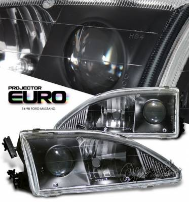 OptionRacing - Ford Mustang Option Racing Projector Headlights - Black - 11-18165