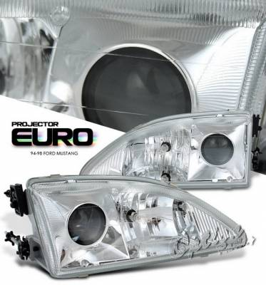 OptionRacing - Ford Mustang Option Racing Projector Headlights - Chrome - 11-18169