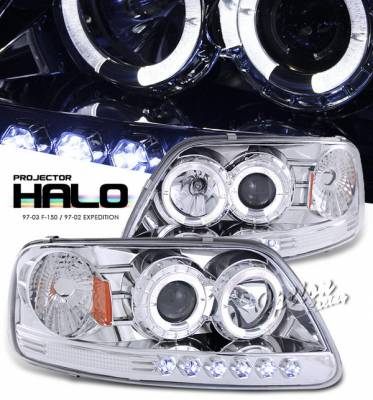 OptionRacing - Ford Expedition Option Racing Projector Headlights - Chrome with Halo with LED - 1PC - 11-18318