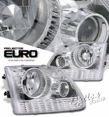 OptionRacing - Ford Expedition Option Racing Projector Headlights - Chrome Euro Style - 11-18321