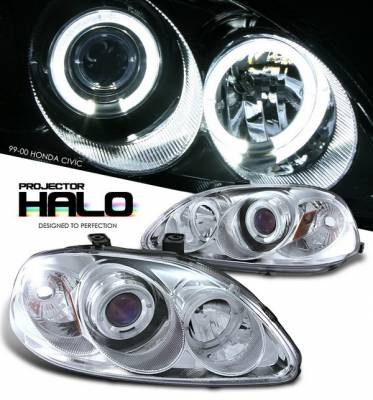 OptionRacing - Honda Civic Option Racing Projector Headlights - Chrome with Halo - 11-20323