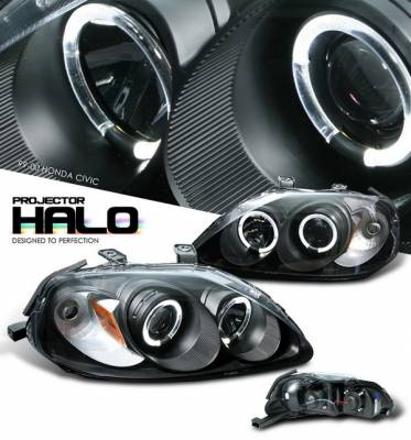 OptionRacing - Honda Civic Option Racing Projector Headlights - Black with Halo - 11-20324