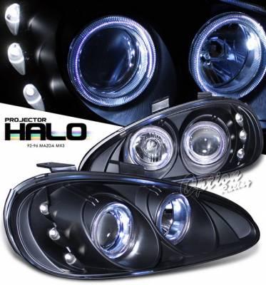 OptionRacing - MX3 Option Racing Projector Headlights - Black with Halo - 11-31274B
