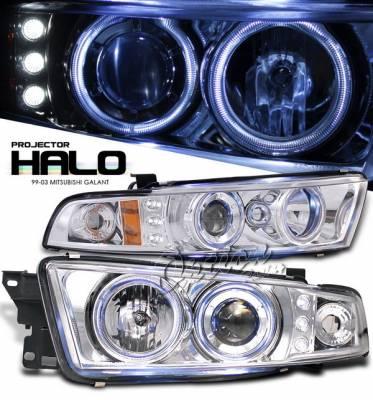 OptionRacing - Mitsubishi Galant Option Racing Projector Headlights with Amber Reflector - Chrome with Halo LED - 11-35274-N
