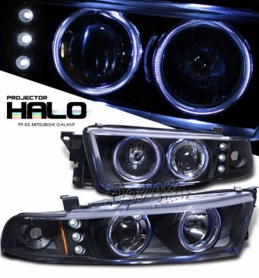 OptionRacing - Mitsubishi Galant Option Racing Projector Headlights with Amber Reflector - Black with Halo LED - 11-35275-N
