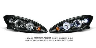 OptionRacing - Toyota Camry Option Racing Projector Headlights - Black with Halo - 11-44256