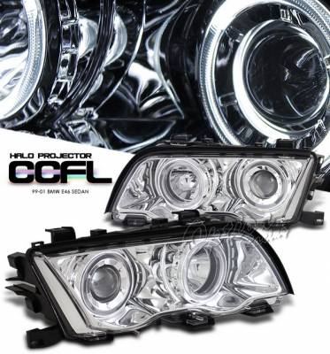 OptionRacing - BMW 3 Series 4DR Option Racing Headlights CCFL Projector - Chrome with CCFL Halo - 12-12113