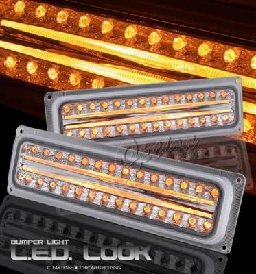 OptionRacing - Chevrolet C10 Option Racing Bumper Light - Chrome & LED Look - 16-15121
