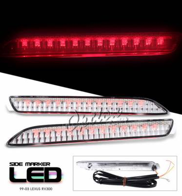 OptionRacing - Lexus RX Option Racing Side Marker - Chrome LED Light with Brake Function - 16-29113