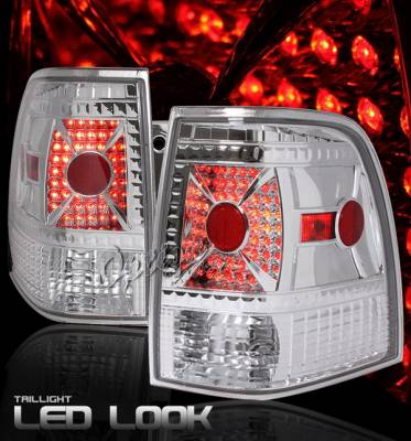 OptionRacing - Ford Expedition Option Racing Taillights - LED Look - Chrome Diamond Cut - 17-18368