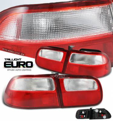 OptionRacing - Honda Civic HB Option Racing Taillights - Red & Clear - 17-20269