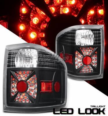 OptionRacing - Ford F150 Option Racing Taillights LED Look - Black Chrome Diamond Cut - 19-18363