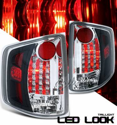 OptionRacing - Chevrolet S10 Option Racing Taillights LED Look - Black Chrome Diamond Cut - 19-19364