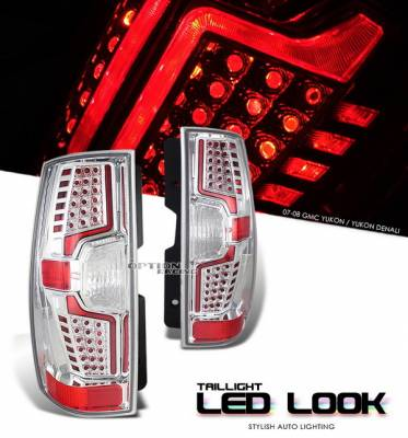 OptionRacing - GMC Yukon Option Racing Taillights LED Look - Black Chrome Diamond Cut - 19-19365