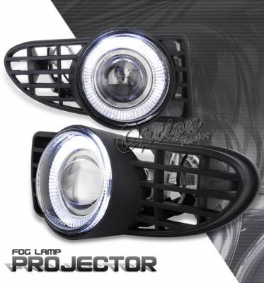OptionRacing - Chrysler PT Cruiser Option Racing Fog Light Kit - Halo Projector - 28-16231