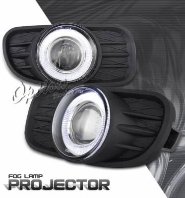 OptionRacing - Jeep Grand Cherokee Option Racing Fog Light Kit - Halo Projector - 28-16254