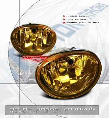 OptionRacing - Dodge Caravan Option Racing Fog Light Kit - Amber - 28-17111