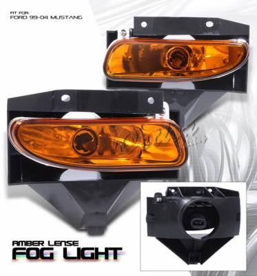 OptionRacing - Ford Mustang Option Racing Fog Light Kit - Amber - 28-18123