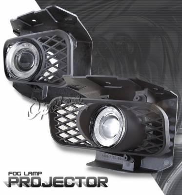 OptionRacing - Ford F150 Option Racing Fog Light Kit - Halo Projector - 28-18243