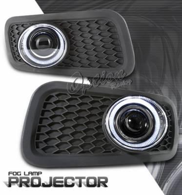 OptionRacing - Ford F150 Option Racing Fog Light Kit - Halo Projector - 28-18244