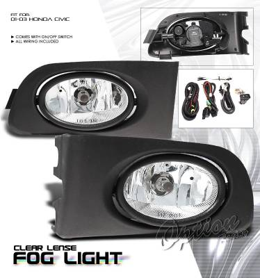 OptionRacing - Honda Civic Option Racing Fog Light Kit - 28-20180