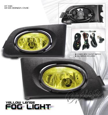 OptionRacing - Honda Civic Option Racing Fog Light Kit - 28-20181