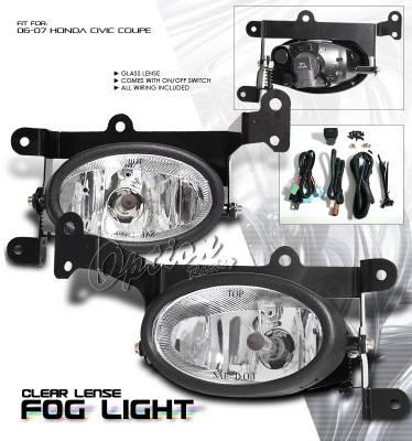 OptionRacing - Honda Civic Option Racing Fog Light Kit - 28-20186