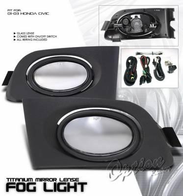 OptionRacing - Honda Civic Option Racing Fog Light Kit with Wiring Kit - Smoke - 28-20207