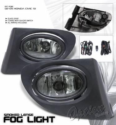 OptionRacing - Honda Civic Option Racing Fog Light Kit with Wiring Kit - Smoke - 28-20209