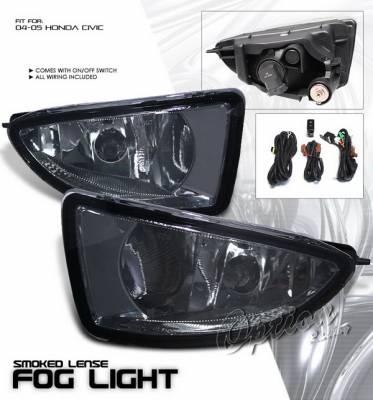 OptionRacing - Honda Civic Option Racing Fog Light Kit with Wiring Kit - Smoke - 28-20212