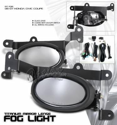 OptionRacing - Honda Civic 2DR Option Racing Fog Light Kit with Wiring Kit - Smoke - 28-20217