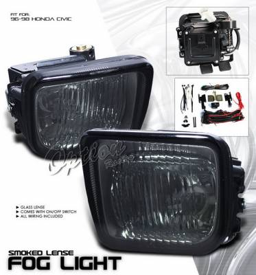 OptionRacing - Honda Civic Option Racing Fog Light Kit with Wiring Kit - Smoke - 28-20221
