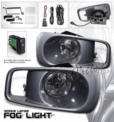 OptionRacing - Honda Civic Option Racing Fog Light Kit with Wiring Kit - Smoke - 28-20222