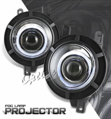 OptionRacing - Lincoln Navigator Option Racing Fog Light Kit - Halo Projector - 28-30257