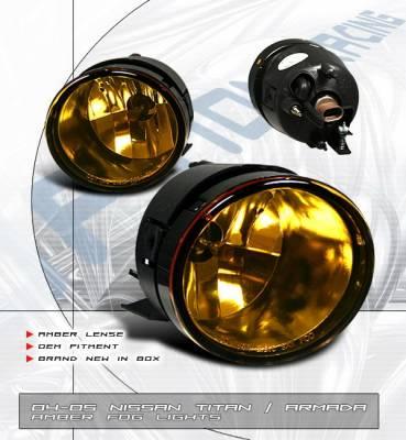 OptionRacing - Nissan Titan Option Racing Fog Light Kit - Amber - 28-36151