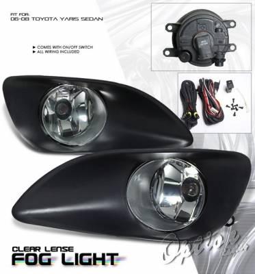 OptionRacing - Toyota Yaris Option Racing Fog Light Kit with Wiring Kit - Clear - 28-44193