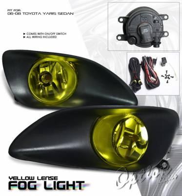 OptionRacing - Toyota Yaris Option Racing Fog Light Kit with Wiring Kit - Yellow - 28-44194