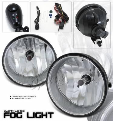 OptionRacing - Toyota Solara Option Racing Fog Light Kit - Plastic with Wiring Kit - Clear - 28-44206
