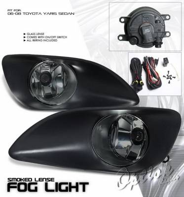 OptionRacing - Toyota Yaris Option Racing Fog Light Kit with Wiring Kit - Smoke - 28-44219