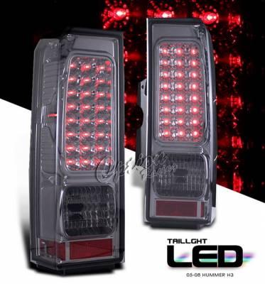 OptionRacing - Hummer H3 Option Racing LED Taillights - Smoke Full LED Version - 75-21333