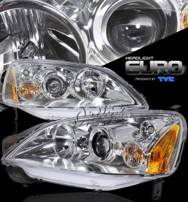 OptionRacing - Honda Civic Option Racing Projector Headlights - Chrome Projector - 80-5921-05