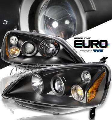 OptionRacing - Honda Civic Option Racing Projector Headlights - Black - 80-5921-95