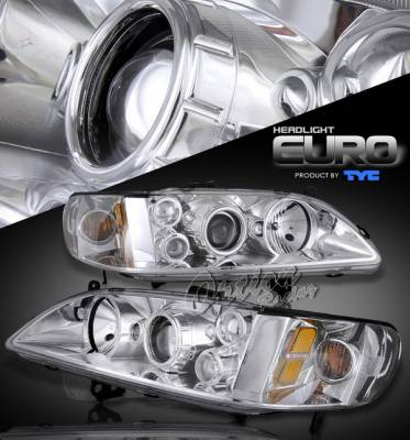 OptionRacing - Honda Accord Option Racing Projector Headlights - Chrome Projector Headlight - 80-6103-05
