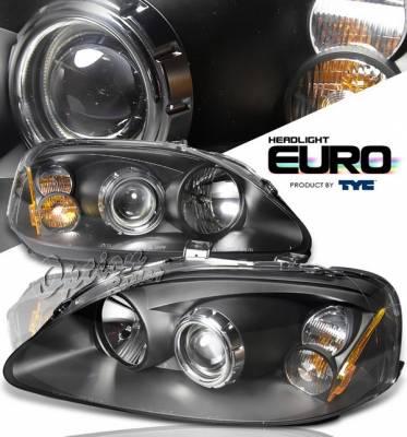 OptionRacing - Honda Civic Option Racing Projector Headlights - Black - 80-6133-45