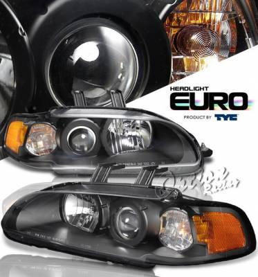 OptionRacing - Honda Civic 2DR Option Racing Projector Headlights - Black - 1PC - 80-6165-45
