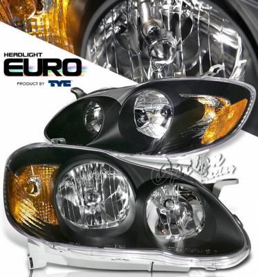 OptionRacing - Toyota Corolla Option Racing Headlights - Black - 80-6235-45