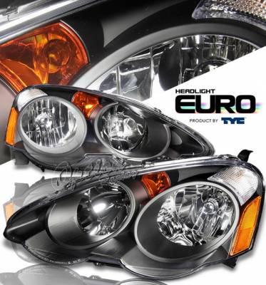OptionRacing - Acura RSX Option Racing Headlights - Black - 80-6277-45