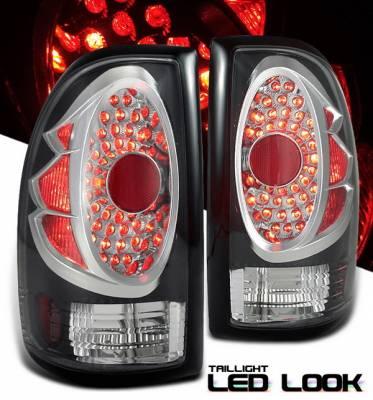 OptionRacing - Dodge Dakota Option Racing Taillights - LED Look - Black with Chrome Ring - DGDA-97TBC